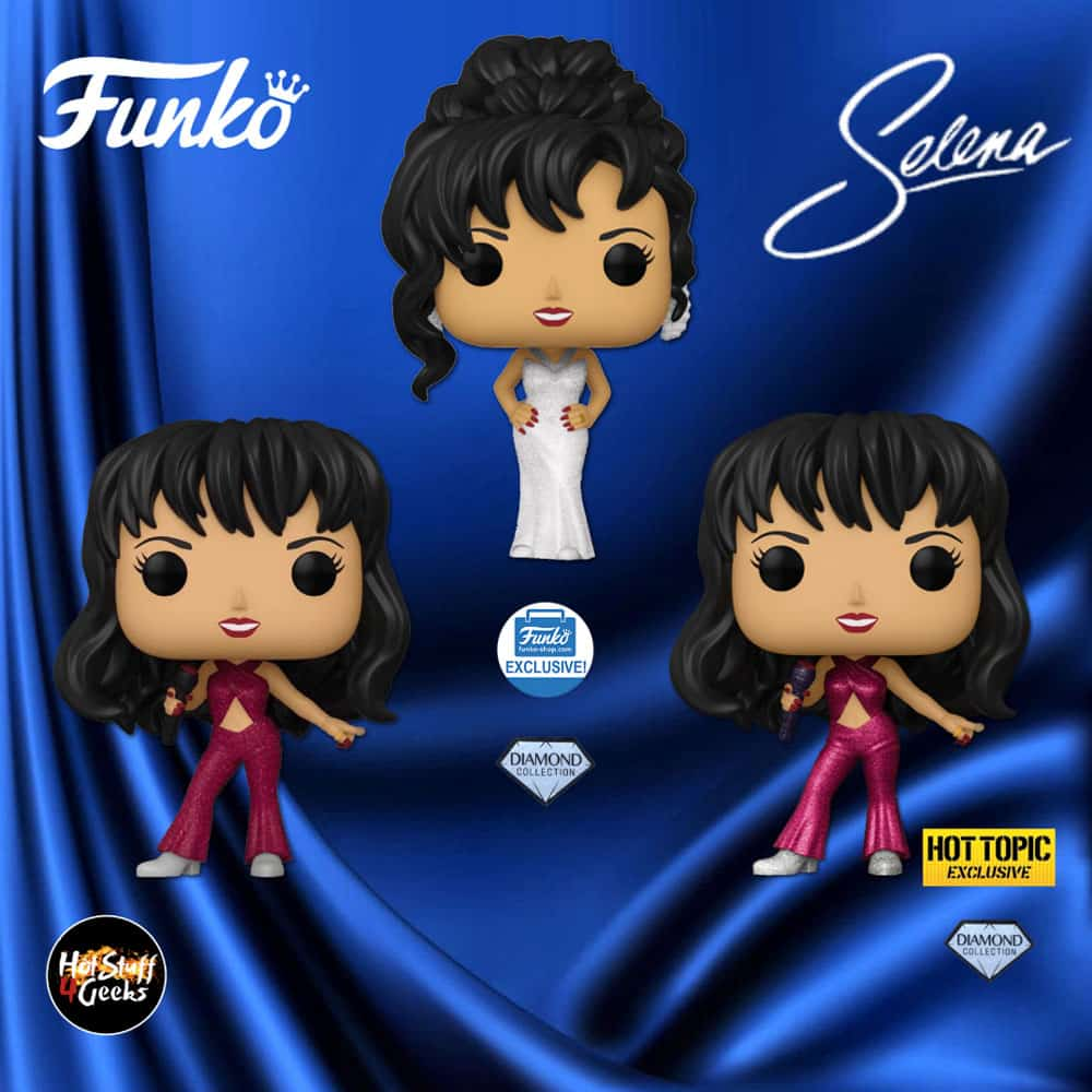 Funko Pop! Rocks! Selena With Glitter Burgundy Outfit, Selena With Burgundy Outfit Diamond Collection (Hot Topic), and Selena With Grammy White Dress Diamond Collection (Funko Shop) Funko Pop! Vinyl Figures