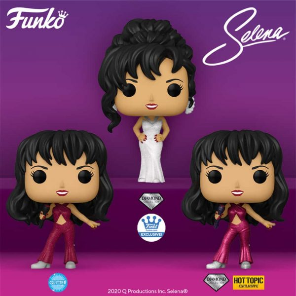 Funko Pop! Rocks! Selena With Glitter Burgundy Outfit, Selena With Burgundy Outfit Diamond Collection (Hot Topic), and Selena With Grammy White Dress Diamond Collection (Funko Shop) Funko Pop! Vinyl Figures