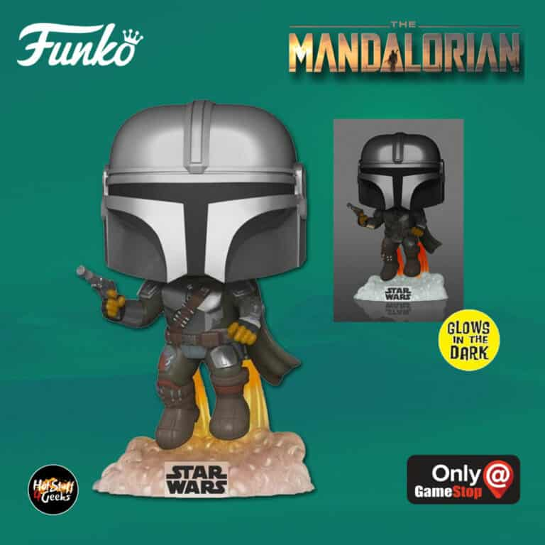 Funko Pop! Star Wars: The Mandalorian – The Mandalorian Flying With Blaster Glow-In-The-Dark (GITD) Funko Pop! Vinyl Figure - GameStop Exclusive