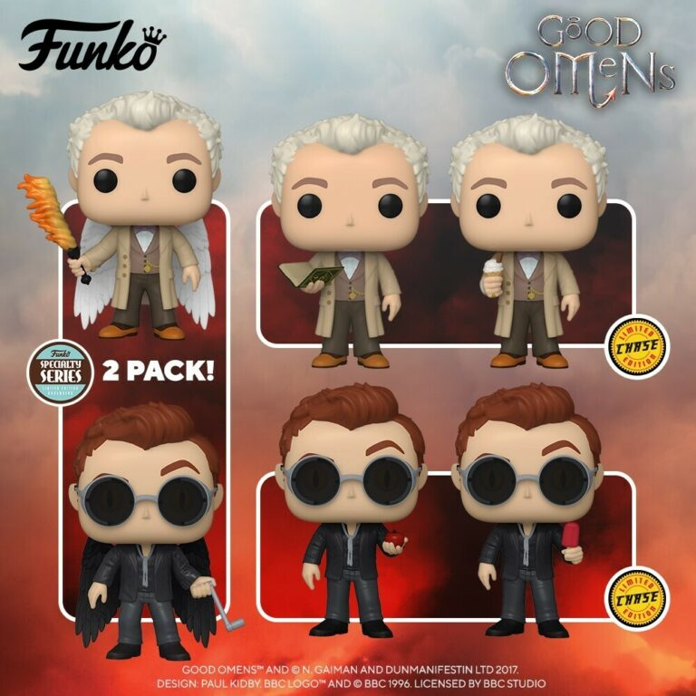 Funko Pop! Television: Good Omens - Crowley with Apple With Chase Variant, Aziraphale with Book With Chase Variant, and Aziraphale and Crowley with Wings 2-Pack Funko Pop! Vinyl Figures