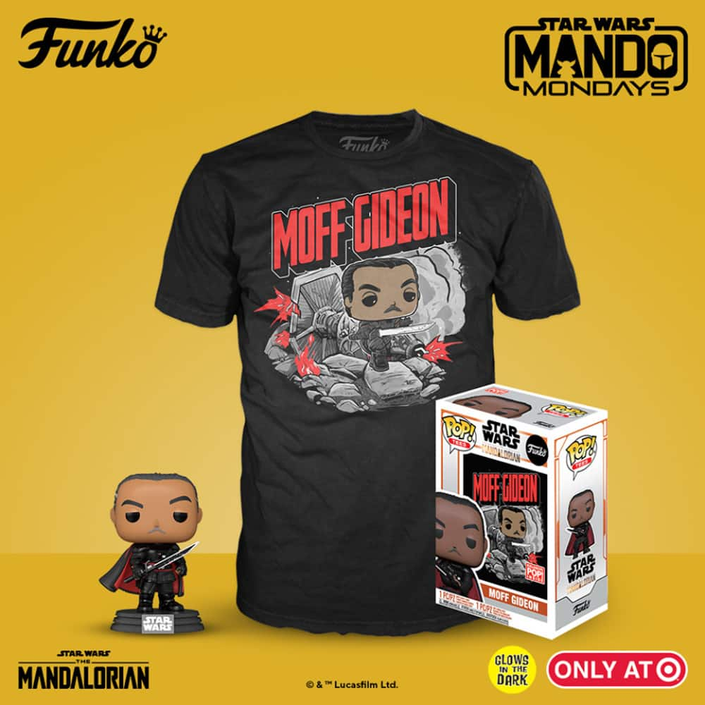 Funko Pop! and Tee: Star Wars The Mandalorian – Moff Gideon Glow In the Dark (GITD) Funko Pop! Vinyl Figure and T-Shirt Collector's Box – Target Exclusive