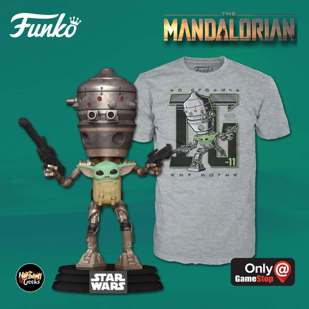 Funko Pop! and Tee: Star Wars The Mandalorian - IG-11 with the Child in Satche Funko Pop! Vinyl Figure and T-Shirt Bundle - GameStop Exclusive