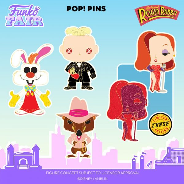 Funko Disney: Who Framed Roger Rabbit: Roger Rabbit, Jessica Rabbit With Chase Variant, Toon Patrol Smarty Weasel, and Judge Doom Large Enamel Pop! Pins - Funko Fair 2021