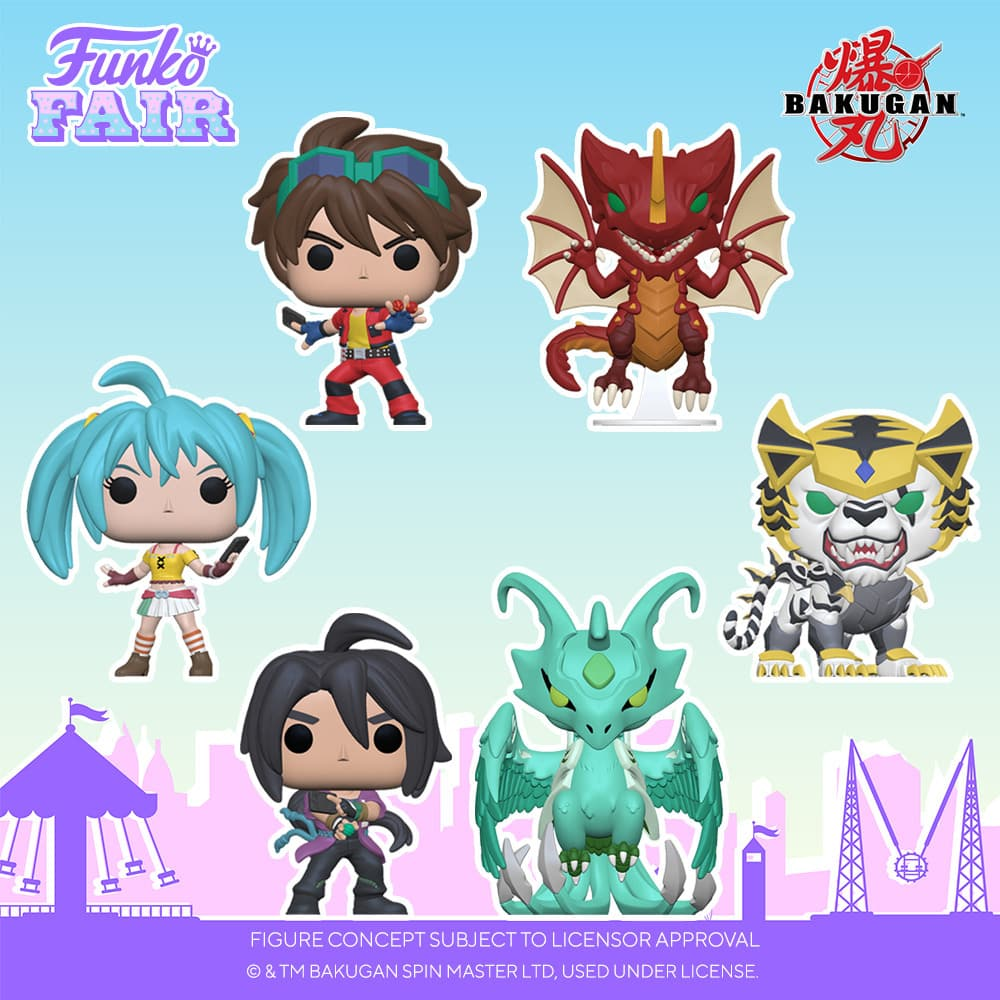 Funko POP! Animation: Bakugan - Runo, Shun, Dan, Tigrerra, Storm Skyress, Drago, and Ajit & Pharol 2-Pack Funko Pop! Vinyl Figures - Funko Fair 2021