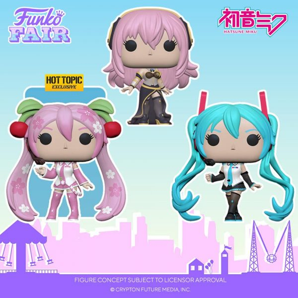 Funko POP! Animation: Vocaloid - Hatsune Miku V4X, Mergurine Luka V4X and Hatsune Miku (Cherry Blosson) Funko Pop! Vinyl Figures - Funko Fair 2021
