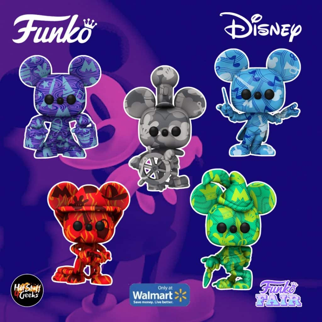 Funko POP! Artist Series: Disney Mickey Mouse - Conductor Mickey, Brave Little Tailor, Firefighter Mickey, Steamboat Willie, Apprentice Mickey Funko Pop! Vinyl Figures - Walmart Exclusive - Toy Fair 2021
