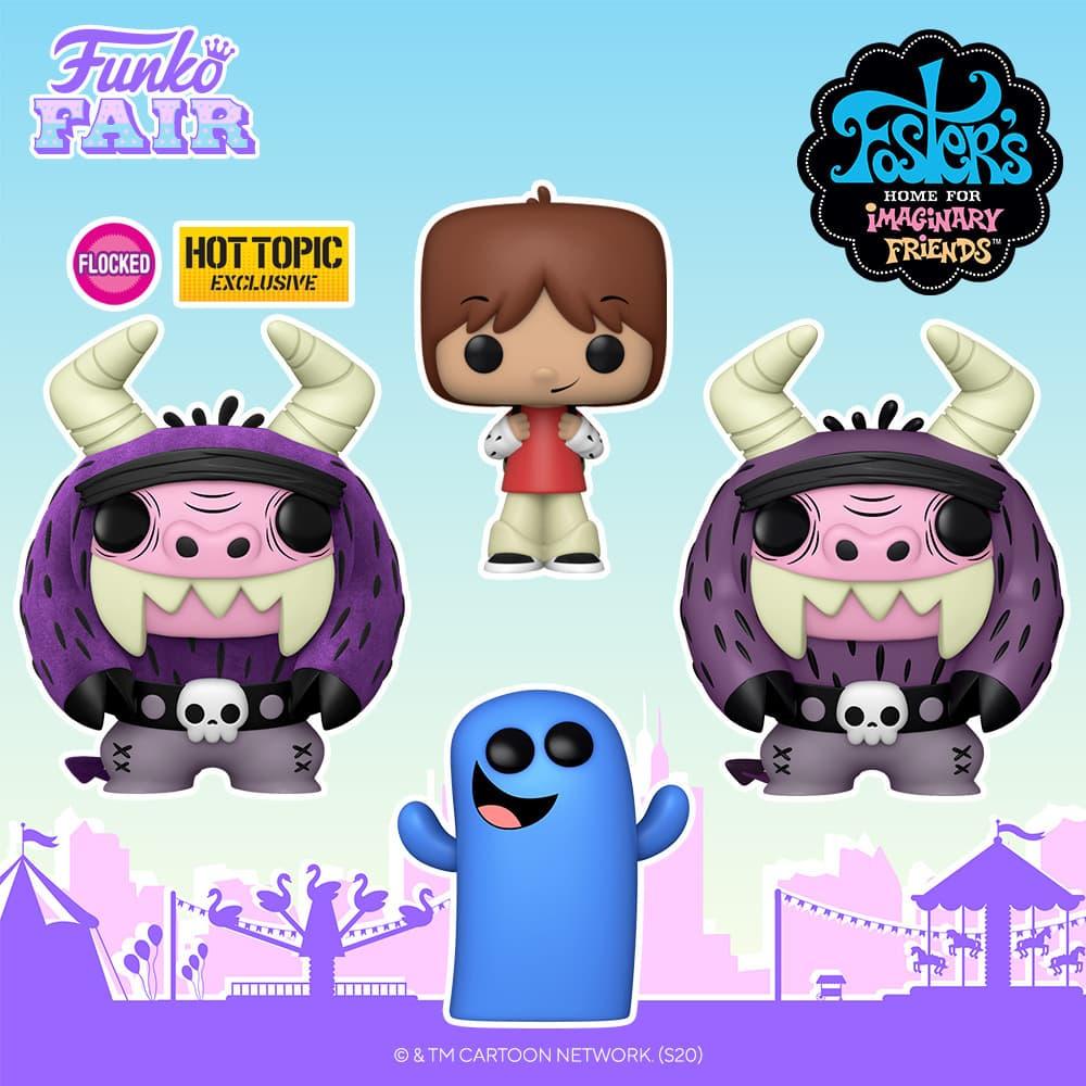 Funko Pop! Animation: Foster's Home for Imaginary Friends - Eduardo, Bloo, Mac and Eduardo Flocked Funko Pop! Vinyl Figure - Funko Fair 2021