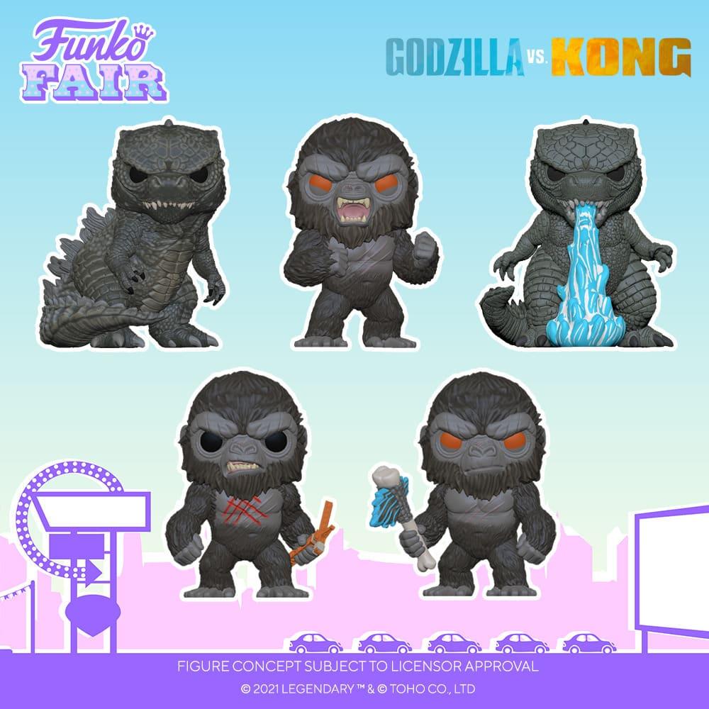 Funko Pop! Animation: Godzilla vs. Kong - Godzilla, Kong , Battle Scarred Kong, Godzilla Heat Ray, Battle-Ready Kong, Godzilla 10-Inch, Kong 10-Inch, Kong (City Lights), Godzilla (City Lights) and Godzilla Heat Ray GITD Funko Pop! Vinyl Figures and Key Chains - Funko Fair 2021