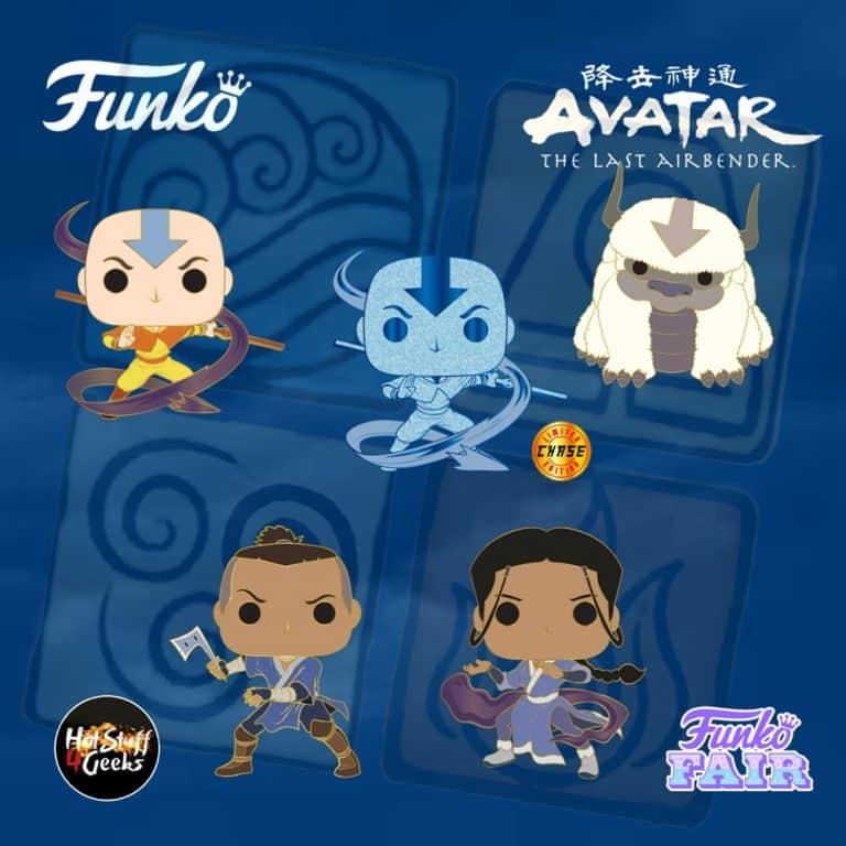 Funko Pop! Avatar: The Last Airbender - Aang With Chase Variant, Appa, Katara and Sokka Large Enamel Pins - Funko Fair 2021