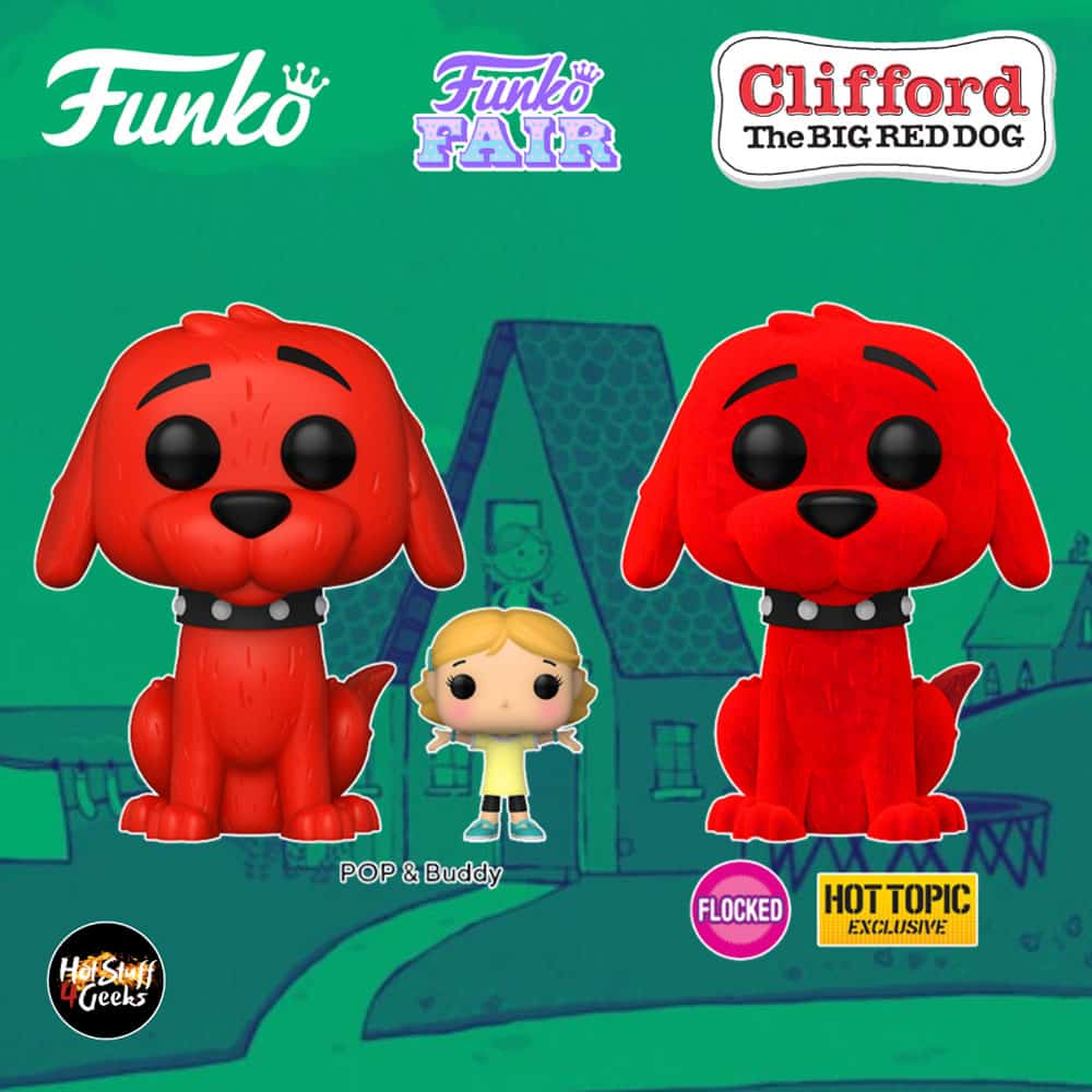 Funko Pop! Books: Clifford the Big Red Dog: Clifford with Emily Elizabeth and Clifford Flocked (Hot Topic Exclusive) Funko Pop! Vinyl Figures - Funko Fair 2021