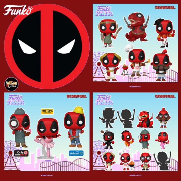 Funko Pop! Deadpool 30th Anniversary - Backyard Griller Deadpool, Coffee Barista Deadpool, Roman Senator Deadpool, Dinopool, Flamenco Deadpool, Nerd Deadpool, Construction Worker Deadpool (Walmart), Sherlock Deadpool (GameStop), Ballerina Deadpool (Hot Topic) Funko Pop! Vinyl Figures and Deadpool 30th Mystery Minis Mini-Figures
