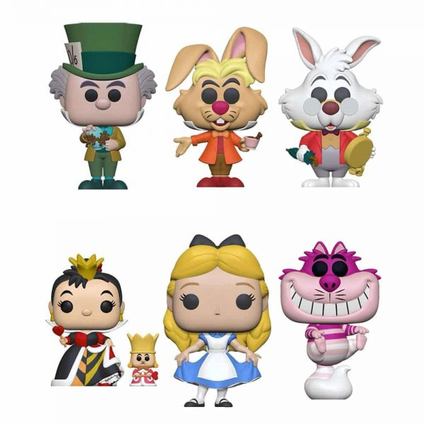 Funko Pop! Disney: Alice in Wonderland 70th Anniversary - March Hare, Alice Curtsying, Queen of Hearts with King, Mad Hatter, Cheshire Cat Translucent, Alice with Flowers Deluxe, White Rabbit with Watch, Tweedle Dee & Dum 2-Pack, Alice with Drink Me Bottle, Cheshire Cat 10-Inch Jumbo Sized, White Rabbit with Watch Flocked Pop! & Tee, and Alice Falling Funko Pop! Vinyl Figures - Funko Fair 2021