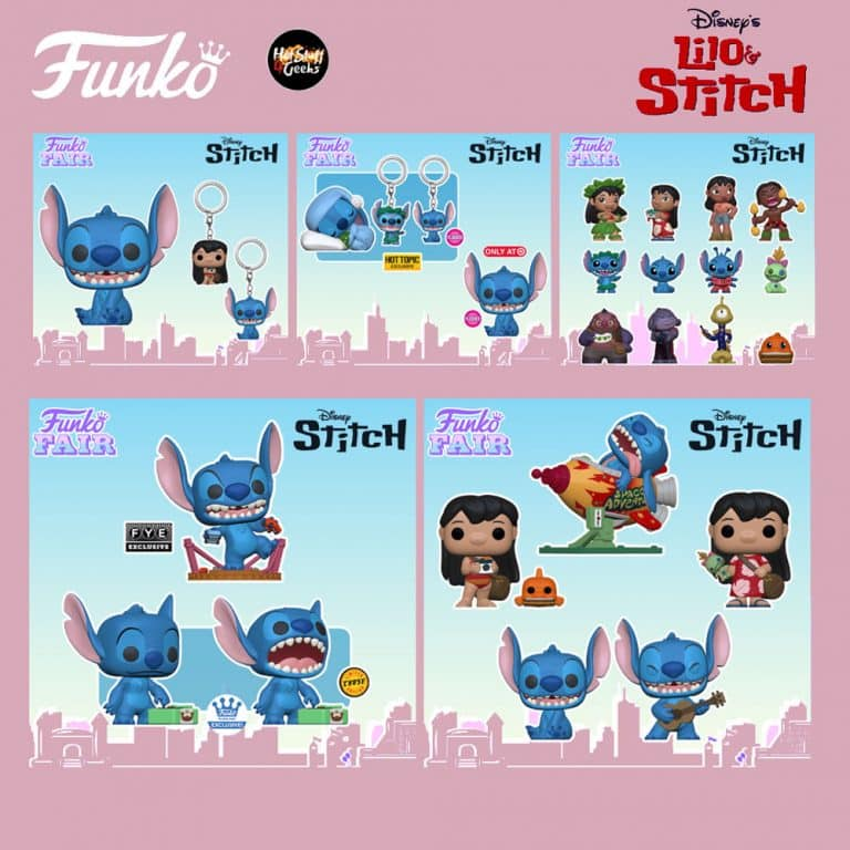 Funko Pop! Disney: Lilo & Stitch - Stitch with Ukulele, Stitch in Rocket, Lilo with Pudge, Lilo with Scrump, Smiling Seated Stitch, Stitch 10-Inch, Monster Stitch, Sleeping Sitch, Smiling Stitch Seated Flocked, and Stitch with Record With Chase Variant Funko Pop! Vinyl Figures, Keychains and Mini-Figures - Funko Fair 2021