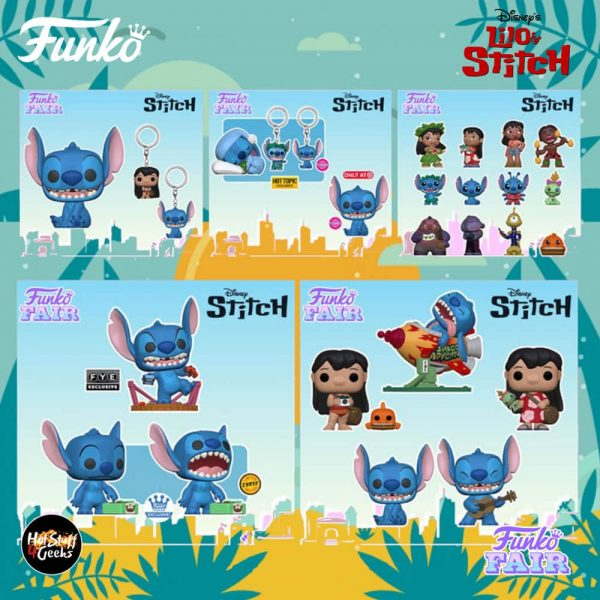Funko Pop! Disney: Lilo & Stitch – Stitch with Ukulele, Stitch in Rocket, Lilo with Pudge, Lilo with Scrump, Smiling Seated Stitch, Stitch 10-Inch, Monster Stitch, Sleeping Sitch, Smiling Stitch Seated Flocked, and Stitch with Record With Chase Variant Funko Pop! Vinyl Figures, Keychains and Mini-Figures – Funko Fair 2021
