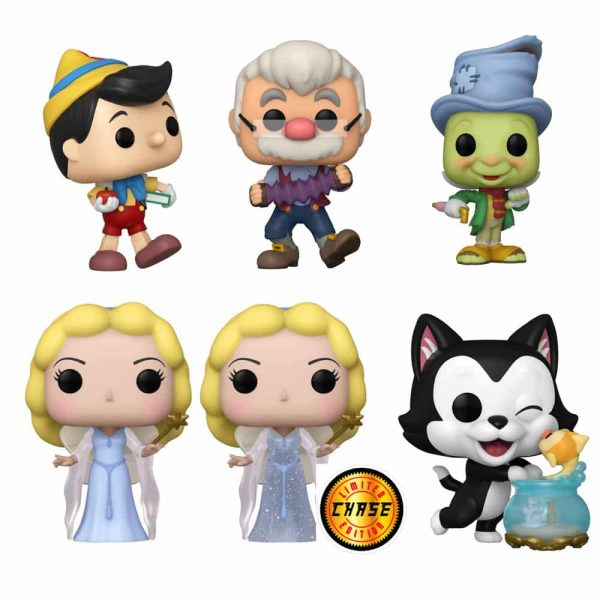 Funko Pop! Disney: Pinocchio - Street Jiminy Cricket, Figaro Kissing Cleo, Blue Fairy With Glitter Chase Variant, School Bound, Geppetto with Accordion, and Street Jiminy Cricket Diamond Collection (Bam Exclusive) Funko Pop! Vinyl Figures