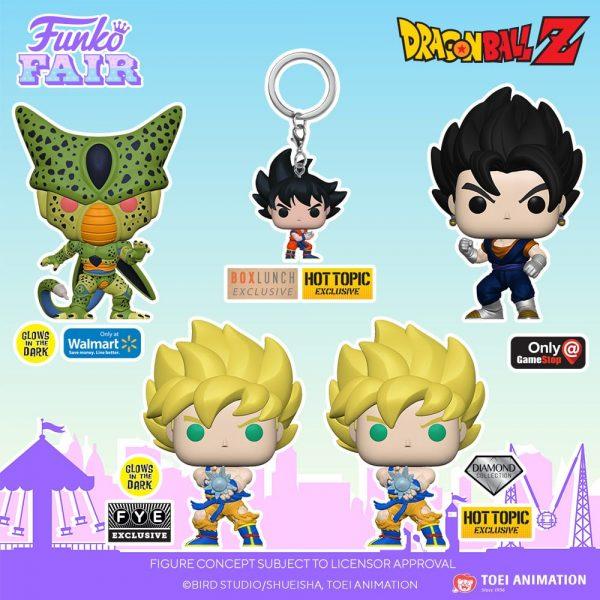 Funko Pop! Dragon Ball Z - Cell (First Form), Child Vegeta, Super Saiyan Gohan with Noodles, Kami, Super Saiyan Goku with Kamehameha Wave, Frieza (First Form), Dr. Gero, Vegito, Cell (First Form) GITD, Super Saiyan Goku with Kamehameha Wave GITD, Super Saiyan Goku with Kamehameha Wave Diamond, Vegito Metallic Funko Pop! Vinyl Figures - Funko Fair 2021