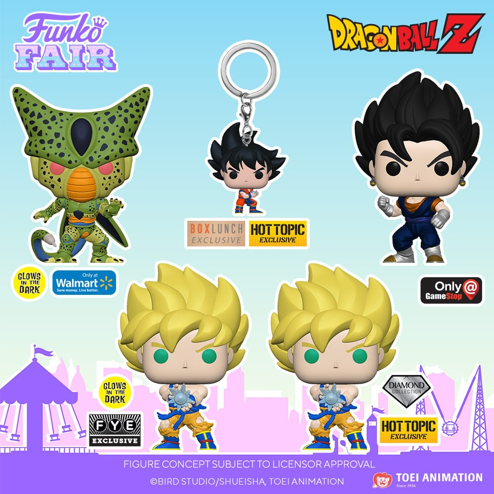 Funko Pop! Dragon Ball Z - Cell (First Form), Child Vegeta, Super Saiyan Gohan with Noodles, Kami, Super Saiyan Goku with Kamehameha Wave, Frieza (First Form), Dr. Gero, Vegito, Cell (First Form) GITD, Super Saiyan Goku with Kamehameha Wave GITD, Super Saiyan Goku with Kamehameha Wave Diamond, Vegito Metallic Funko Pop! Vinyl Figures - Funko Fair 2021