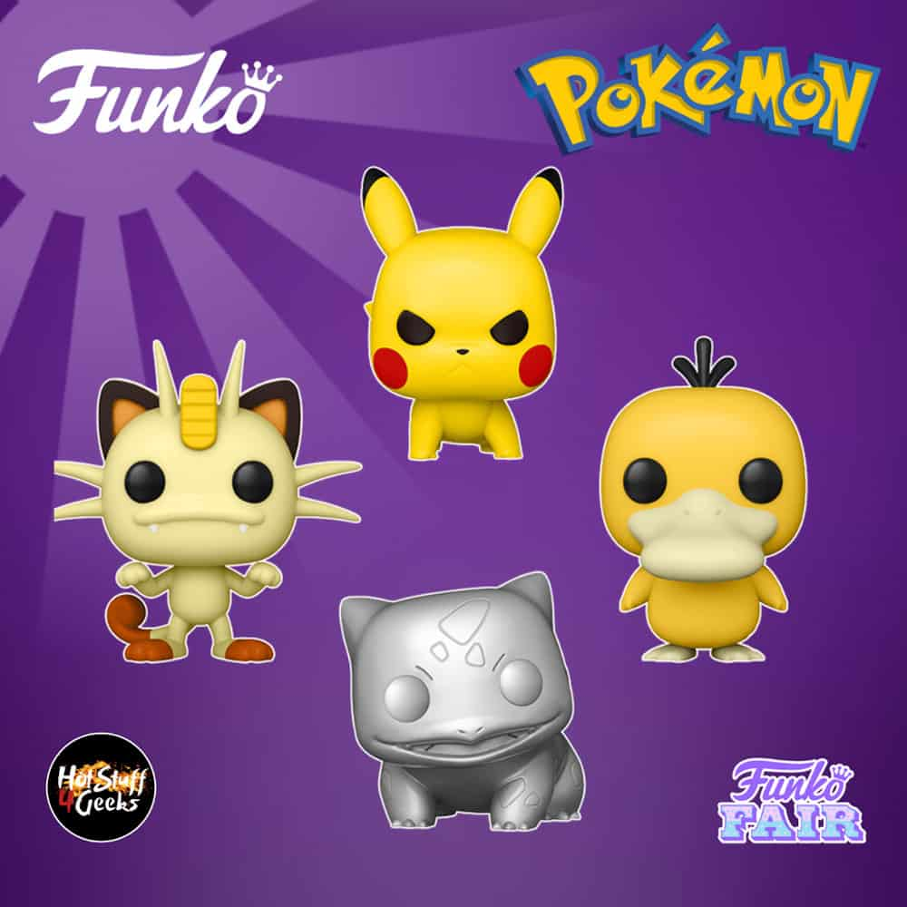 Funko Pop! Games: Pokemon - Pikachu S6 (Attack Stance), Meowth S6, Psyduck S6 and Bulbasaur S6 Silver Metallic Funko Pop! Vinyl Figure