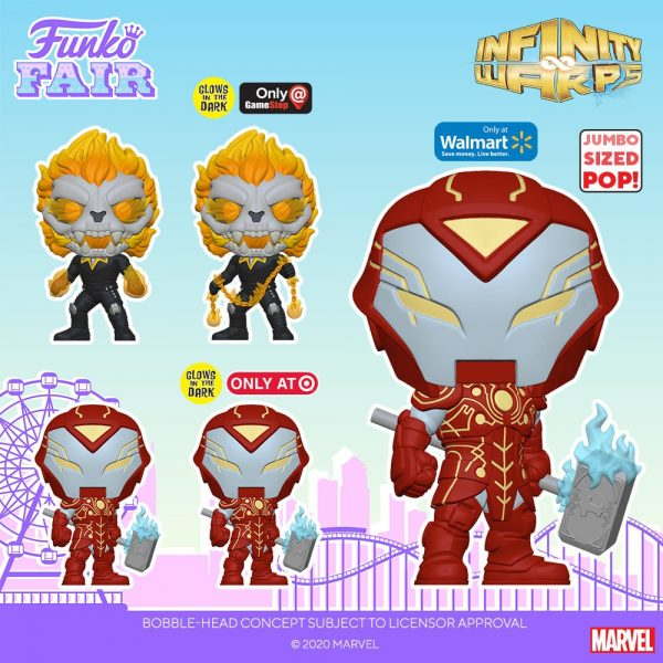 Funko Pop! Marvel: Infinity Warps - Soldier Supreme, Iron Hammer, Arachknight, Ghost Panther, Madame Hel, Diamond Patch, Iron Hammer 10-inch (walmart), Weapon Hex (Hot Topic), Soldier Supreme GITD (Amazon), Iron Hammer GITD (Target), Ghost Panther GITD (GameStop) and Hot Rocks (Funko Shop) Funko Pop! Vinyl Figure