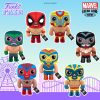 Funko Pop! Marvel Luchadores (Luche Libra) - El Furioso Hulk, El Animal Indestructible Wolverine, El Aracno Spider-Man, El Venenoide Venom, La Estrella Cosmica Captain Marvel, El Chimichanga De La Muerte Deadpool, and El Heroe Iron Man Funko Pop! Vinyl Figures, Plush, and Keychains - Funko Fair 2021