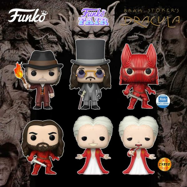 Funko Pop! Movies: Bram Stoker's Dracula - Dracula Whit Chase Variant, Armored Dracula without Helmet, Van Helsing, Young Dracula and Dracula (Funko Shop Exclusive) Funko Pop! Vinyl Figure - Funko Fair 2021