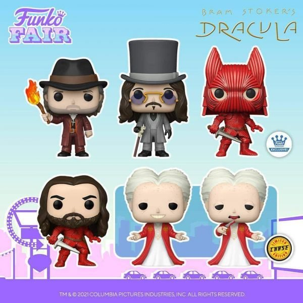 Funko Pop! Movies: Bram Stoker's Dracula - Dracula Whit Chase Variant, Armored Dracula without Helmet, Van Helsing, Young Dracula and Dracula (Funko Shop Exclusive) Funko Pop! Vinyl Figure - Funko Fair 2021