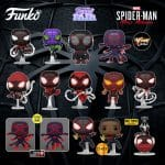 Funko Pop! Spider-Man Miles Morales Game – Miles Morales in STRIKE Suit, 2020 Suit, Winter Suit, Advanced Tech Suit, Programmable Matter Suit, Bodega Cat Suit, Metallic Suit, Crimson Cowl Suit, Track Suit, Classic Suit with Chase Variant, Winter Suit (Hot Topic), Matter Suit GITD (GameStop), and Matter Suit Pose GITD (GameStop) Funko Pop! Vinyl Figures - Funko Fair 2021