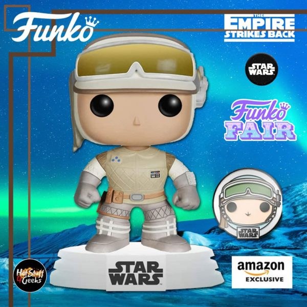Funko Pop! Star Wars: The Empire Strikes Back -Hoth Luke Skywalker with Pin Funko Pop! Vinyl Figure- Amazon Exclusive