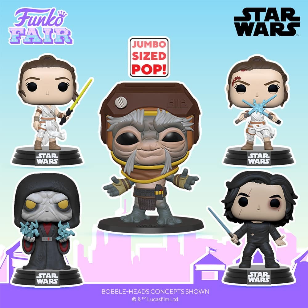 Funko Pop! Star Wars: The Rise of Skywalker - Ben Solo with Blue Saber, Rey with Yellow Saber, Rey with 2 Light Sabers, and Revitalized Palpatine Babu Frik 10-Inch Funko Pop! Vinyl Figures - Funko Fair 2021