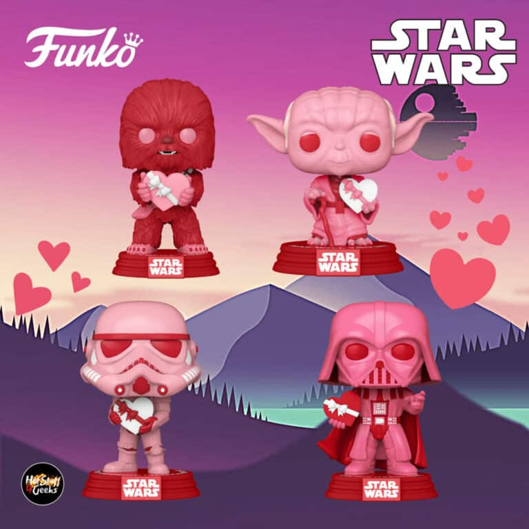 Funko Pop! Star Wars Valentine's Day - Yoda with Heart, Cupid Chewbacca with Heart, Stormtrooper with Heart and Darth Vader with Heart Funko Pop! Vinyl Figures