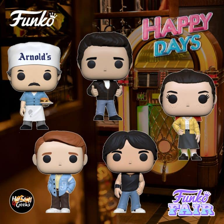 Funko Pop! Television: Happy Days - Chachi, Arnold, Richie, Fonzie, and Joanie Funko Pop! Vinyl Figures - Funko Fair 2021