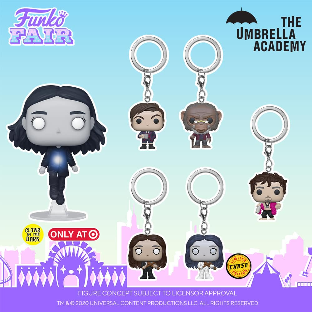 Funko Pop! Television: Umbrella Academy - Ben, Allison, Baby Pogo, Klaus, Vanya, Luther, Number 5, Diego and Vanya GITD Funko Pop! Vinyl Figures and Pogo, Klaus and Vanya With Chase Pocket Pop! Key Chain - Funko Fair 2021