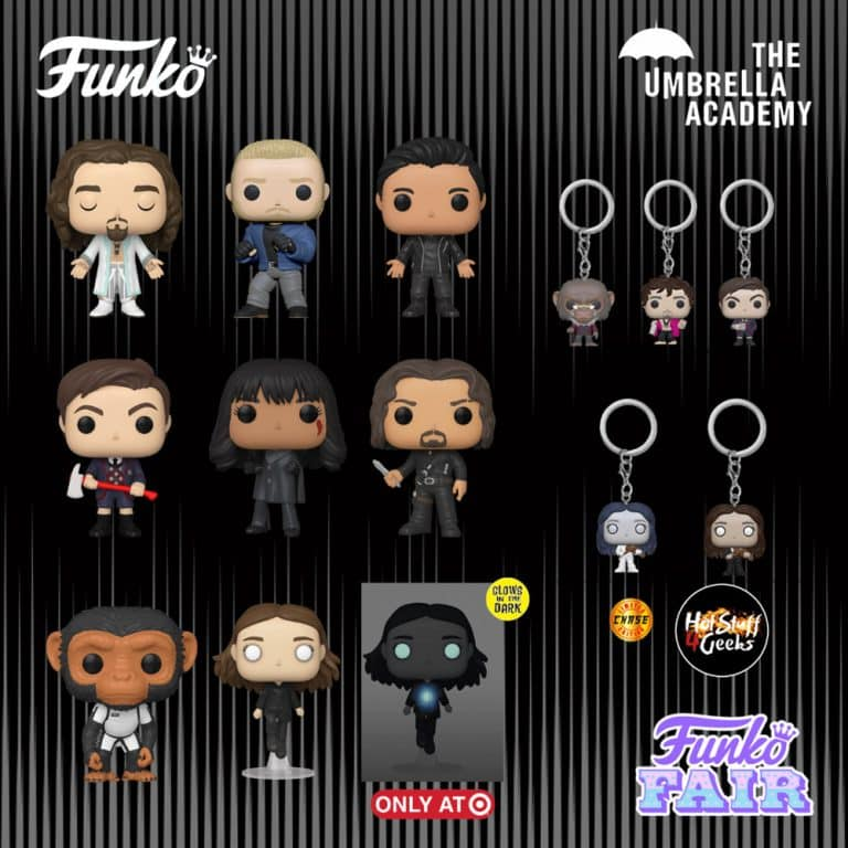 Funko Pop! Television: The Umbrella Academy - Ben, Allison, Baby Pogo, Klaus, Vanya, Luther, Number 5, Diego and Vanya GITD Funko Pop! Vinyl Figures and Pogo, Klaus, and Vanya With Chase Pocket Pop! Key Chains - Funko Fair 2021
