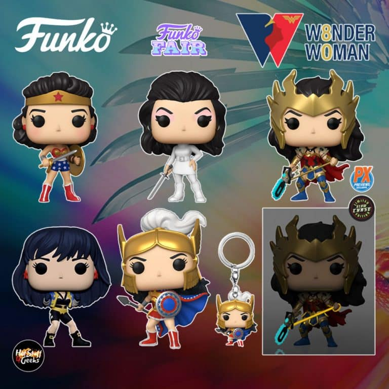 Funko Pop! Heroes: Wonder Woman 80th Anniversary - Ultra Mod Secret Agent (1968), Challenge Of The Gods, Golden Age (1950's), Wonder Woman (The Contest), and Death Metal Wonder Woman (PX) Funko Pop! Vinyl Figures - Funko Fair 2021