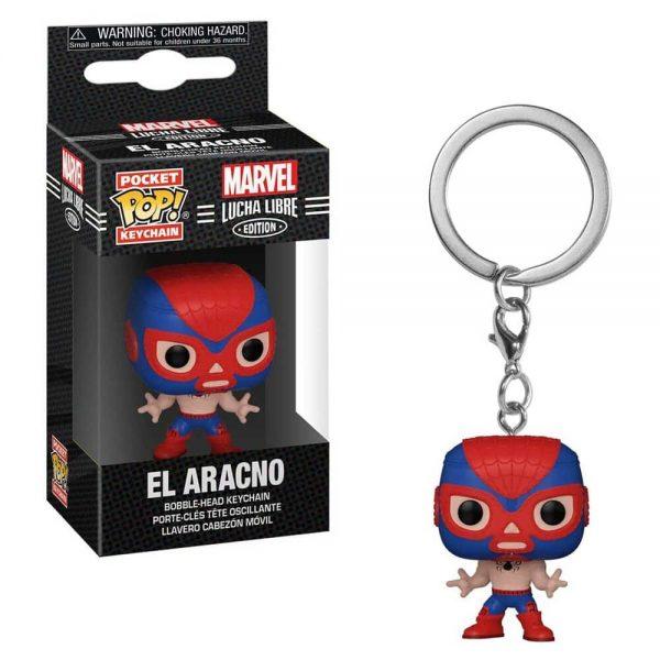 Marvel Luchadores El Aracno Spider-Man Pocket Pop! Key Chain