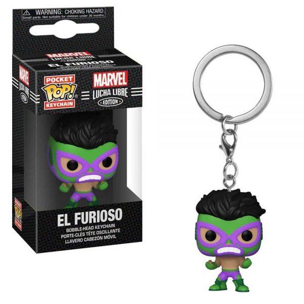 Marvel Luchadores El Furioso Hulk Pocket Pop! Key Chain