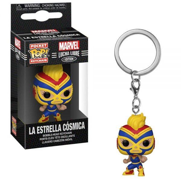 Marvel Luchadores La Estrella Cosmica Captain Marvel Pocket Pop! Key Chain