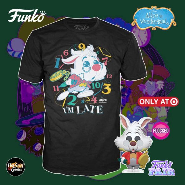 Pop! and Tee Disney Alice in Wonderland 70th Anniversary - White Rabbit with Watch Flocked Funko Pop! Vinyl Figure and Tee Bundle- Target Exclusive
