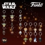 Star Wars Funko Pop! keychains: The Child, Mando, IG-11, Boba Fett, Stormtrooper, Moff Gideon, Luke, Han, Leia, Chewbacca, C-3PO, R2-D2, Master Yoda, and Darth Vader