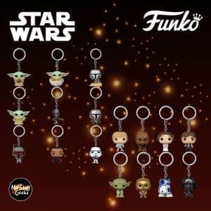 Star Wars Funko Pop! keychains: The Child, Mando, IG-11, Boba Fett, Stormtrooper, Moff Gideon, Luke, Han, Leia, Chewbacca, C-3PO, R2-D2, Master Yoda, and Darth Vader