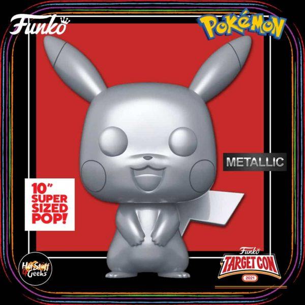 Funko Pop! Games: Pokemon - Pikachu Metallic 10 - Inch Funko Pop! Vinyl Figure - Target Con 2021 Exclusive