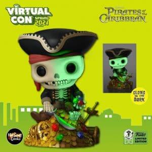 Funko Pop! Deluxe Disney Parks: Pirates of The Caribbean - Treasure Skeleton on Gold Pile Glow-In-The-Dark (GITD) Funko Pop! Vinyl Figure - ECCC 2021 and Funko Shop Shared Exclusive