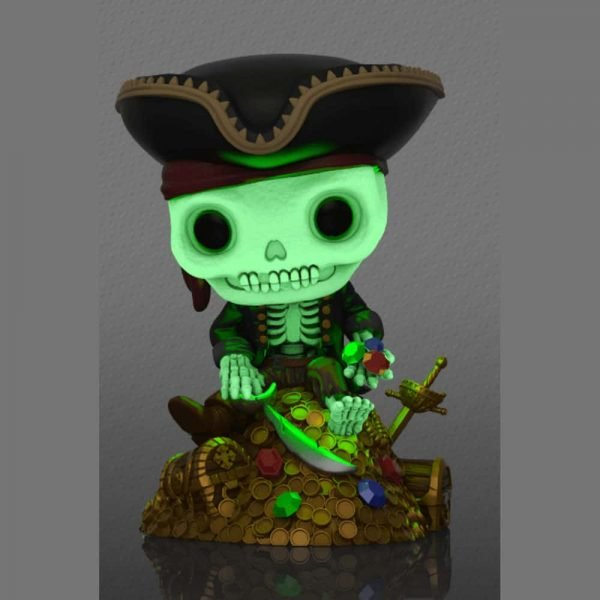Funko Pop! Deluxe Disney Parks: Pirates of The Caribbean - Treasure Skeleton on Gold Pile Glow-In-The-Dark (GITD) Funko Pop! Vinyl Figure - ECCC 2021 and Funko Shop Shared Exclusive