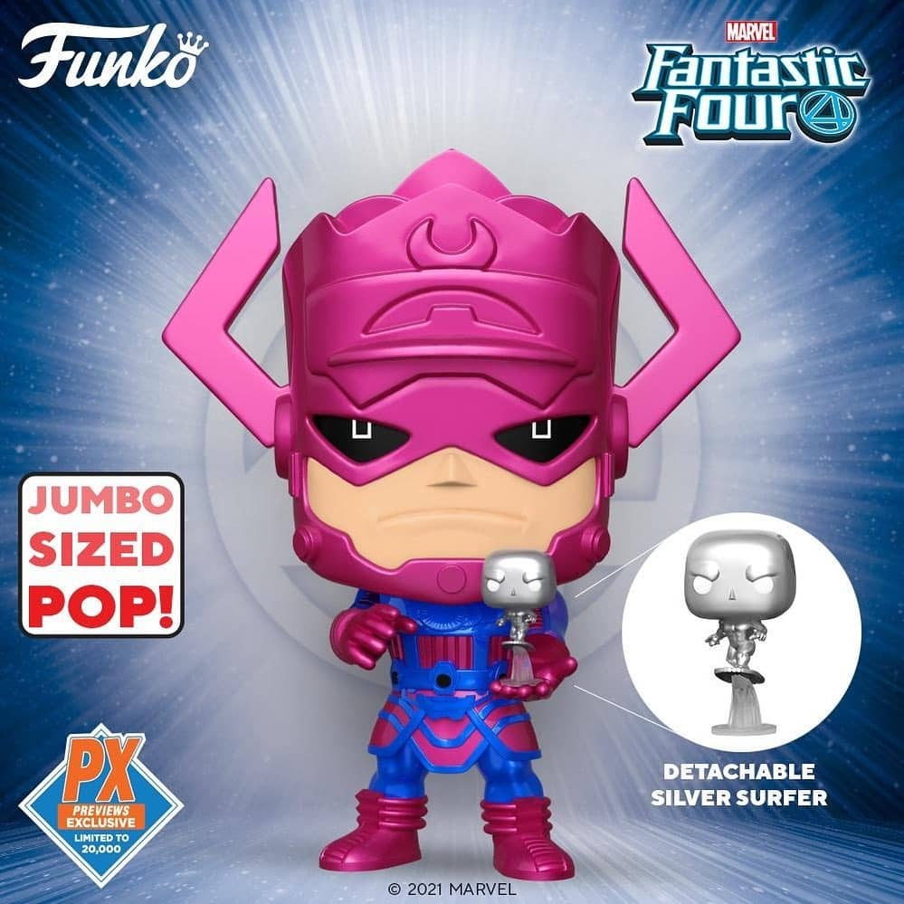 Funko Pop! Marvel Fantastic Four: Galactus with Silver Surfer 10 -Inch Metallic Funko Jumbo Sized Pop! Vinyl Figure - (PX) Previews Exclusive