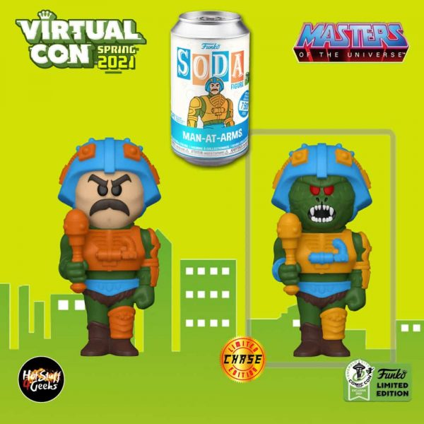 Funko Vinyl Soda: Masters of the Universe: Man-At-Arms Vinyl Soda Figure With Chase Variant - ECCC 2021, Spring Convention 2021, and Funko Shop Shared Exclusive