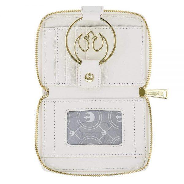 Loungefly Star Wars White Gold Rebel Hardware Zip Around Wallet