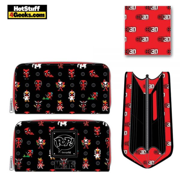 Pop by Loungefly Marvel Deadpool 30th Anniversary AOP Zip Around Wallet - March 2021 pre-orders coming on April 2021
