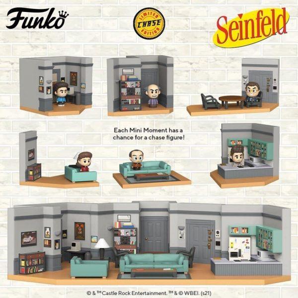 Funko Mini Moments: Seinfeld - Uncle Leo, Elaine, Jerry, George, Newman, and Kramer Mini-Figures Diorama Playset