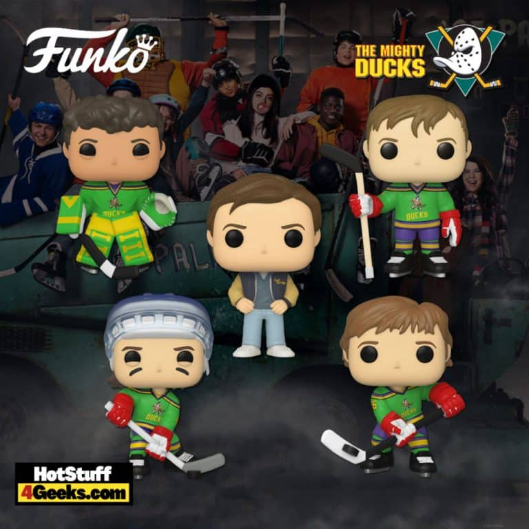 Funko Pop! Disney: The Mighty Ducks - Charlie Conway, Goldberg, Adam Banks, Fulton Reed, and Coach Bombay Funko Pop! Vinyl Figures