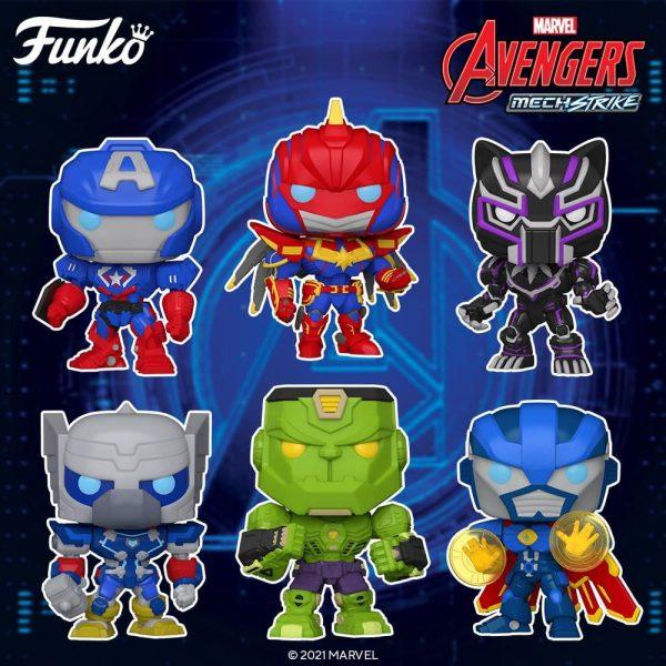 Funko Pop! Marvel Avengers Mech Strike: Dr. Strange, Captain Marvel, Black Panther, Captain America, Hulk, Thor, Captain America (Glow), Hulk (Glow), Black Panther (Glow), Venom, Captain America 10- inch Funko Pop! Vinyl Figures